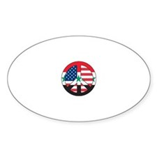 USA vs Iraq for peace Oval Decal