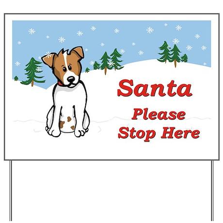 Jack Russel - Snow - Santa Yard Sign
