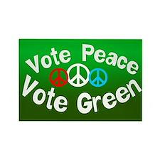 Vote Peace Vote Green Rectangle Magnet