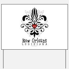 New Orleans Fleur Heart Yard Sign