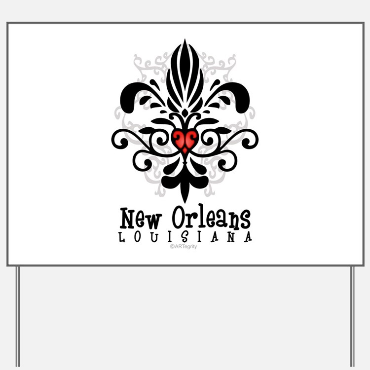 New Orleans Fleur Heart Yard Sign