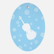 Cello Snowflakes - Ornament (Blue Oval)