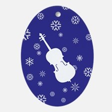 Cello Snowflakes - Ornament (Dk Blue Oval)