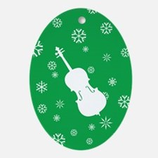 Cello Snowflakes - Ornament (Green Oval)