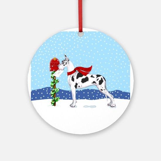 Great Dane Harlequin Mail Ornament (Round)