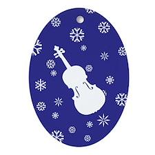 Viola Snowflakes Ornament (Dk Blue Oval)