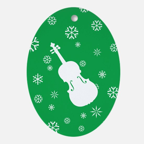 Viola Snowflakes Ornament (Green Oval)