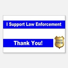 Police Officer Thank You Sticker (Rectangle)