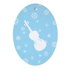 Violin Snowflakes Ornament (Blue Oval)