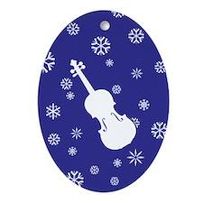 Violin Snowflakes Ornament (Dk Blue Oval)