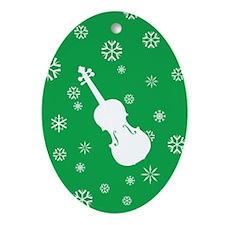Violin Snowflakes Ornament (Green Oval)