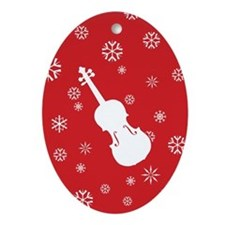 Violin Snowflakes Ornament (Red Oval)