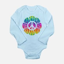 Colorful Peace Flower Long Sleeve Infant Bodysuit
