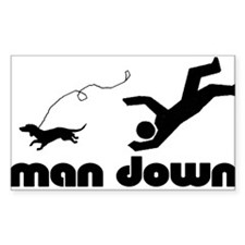 man down dachshund Rectangle Decal