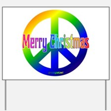 Rainbow Merry Christmas Peace Yard Sign