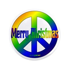 "Merry Christmas Peace Sign 3.5"" Button"