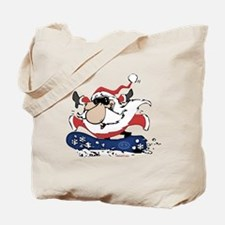 Snowboarding Santa Tote Bag