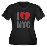I Love NYC Women's Plus Size V-Neck Dark T-Shirt