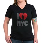 I Love NYC Women's V-Neck Dark T-Shirt