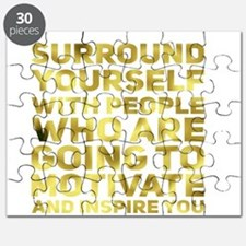 Surround Yourself Inspirational Quote Dark Gold Pu