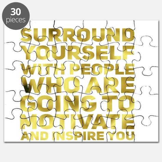 Surround Yourself Inspirational Quote Dark Gold Pu