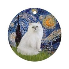 Starry Night & White Persian cat Ornament (Round)