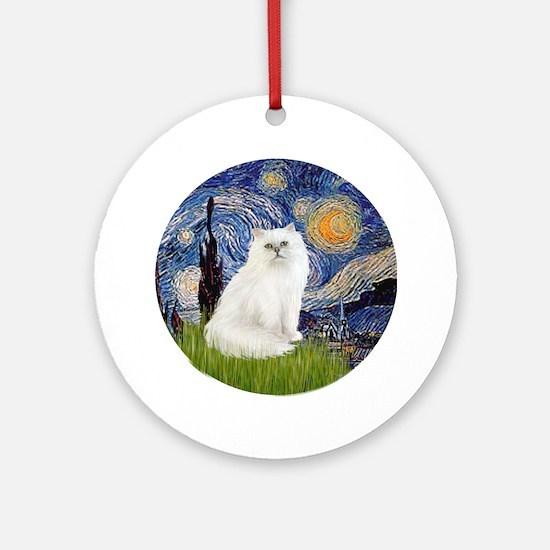 Starry Night & White Persian cat Ornament (Round)