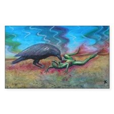 Raven Eating Frog Rectangle Decal