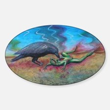 Raven Eating Frog Oval Decal
