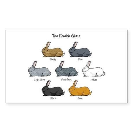 Flemish Giant Rabbit Rectangle Sticker