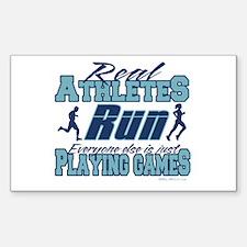 Real Athletes Run Rectangle Decal