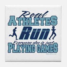 Real Athletes Run Tile Coaster