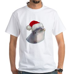 Christmas Santa Dolphin White T-Shirt