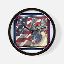 German Shepherd Dog Patriotic USA Flag Wall Clock