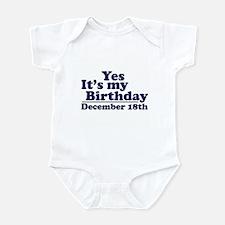 December 18th Birthday Infant Bodysuit