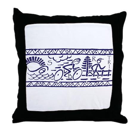 BLUE TRI-BAND Throw Pillow