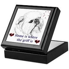 Brussels Griffon Sketch Tile Treasure Box