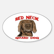 Red Neck Guard Dog Oval Decal