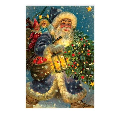 Christmas Santa Claus Blue~ 8 Postcards