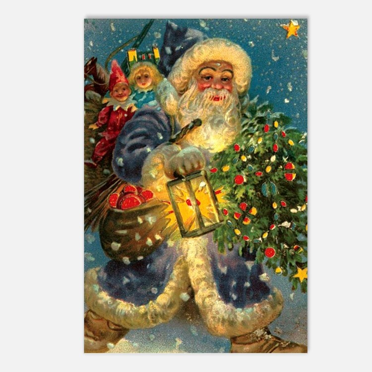 Christmas Santa Claus Blue~ 8 Postcards