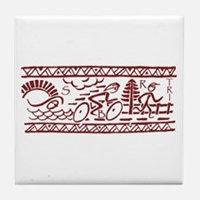 RED TRI-BAND Tile Coaster