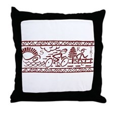 RED TRI-BAND Throw Pillow