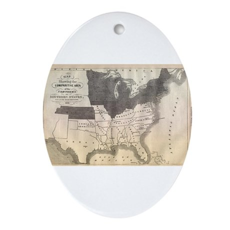 1861 Map Oval Ornament