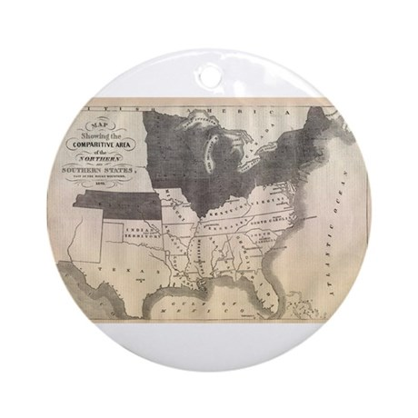 1861 Map Ornament (Round)