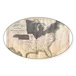 1861 Map Oval Sticker