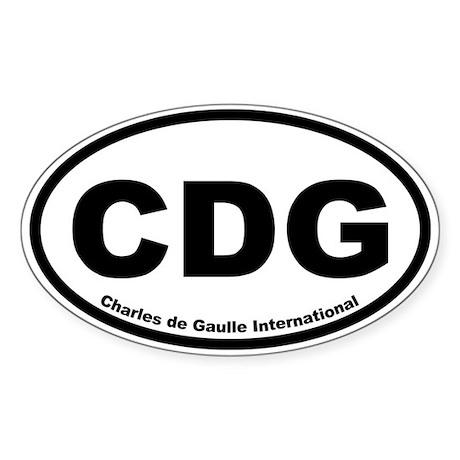 Charles de Gaulle International Oval Sticker