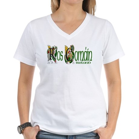 Roscommon Dragon (Gaelic) Women's V-Neck T-Shirt