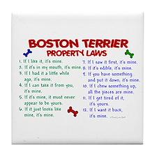 Boston Terrier Property Laws 2 Tile Coaster
