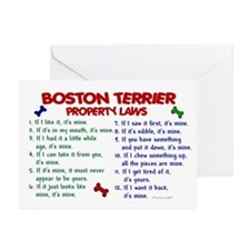 Boston Terrier Property Laws 2 Greeting Cards (Pk