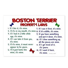 Boston Terrier Property Laws 2 Postcards (Package